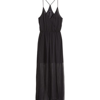 H&M - Chiffon Maxi Dress - Black - Ladies