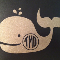 Vinyl Whale Monogram Decal for outdoors/ by PCarolinaBoutique