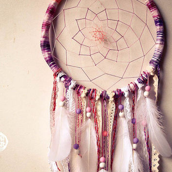 Unique Dream Catcher - Boho Sunset - With Transitional Web and Frame, White Laces and Feathers - Boho Home Decor, Nursery Mobile