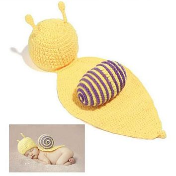 Super Cute Yellow Snail Crochet Set Photography Prop