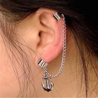 summer trending Single ear cuff anchor ear cuff earring need no ear hole double folder ear Stud trending gifts
