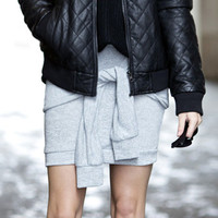JUNO Knotted Sleeve Sweater Skirt - Grey/Black