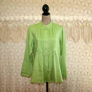 Womens Plus Size Linen Top Green Blouse Babydoll Long Sleeve Shirt XL Tunic Casual Collarless Pleated Loose Fit Lime Size 16 Womens Clothing