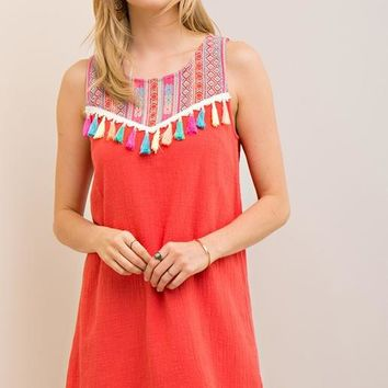 Entro Tassels Embroidered Dress - Tomato