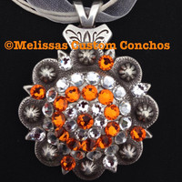 1-3/4 inch Antique necklace. Sun and Clear Swarovski crystals. Comes with an 18 inch ribbon cord.