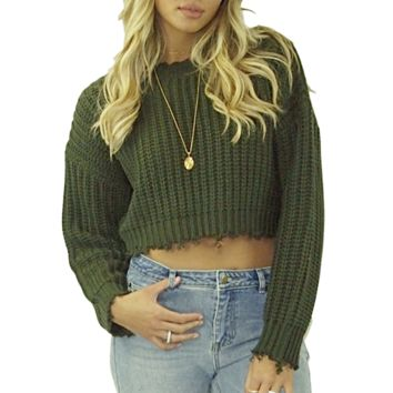 Gretchen Frayed Crop Sweater