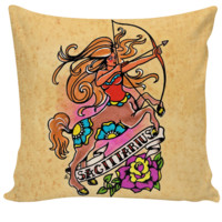 Old School Tattoo SAGITTARIUS Zodiac Pillow