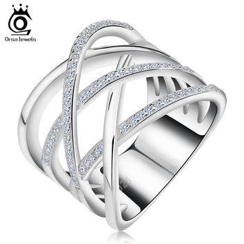 ORSA JEWELS Big Size Silver Ring with Micro Paved AAA CZ High Polished Platinum