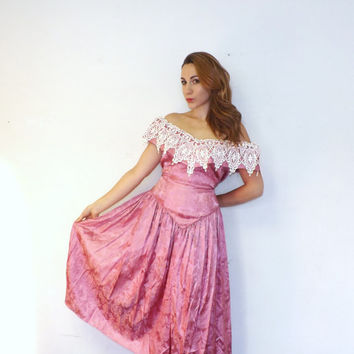 Vintage Plus Size 80s 90s Pink Floral Damask Off Shoulder Princess Gown Prom Dress Bridesmaid Satin Victorian Little Bo Beep Southern Belle