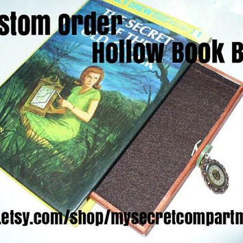 Book Safe Secret Compartment Box, HIdden Compartment, Hollow Book, Book Box, Nancy Drew, Hollowed Out Book, Wood Box, Custom Order Request