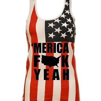 Women's USA Flag Racer Back Tank Top Merica F**K Yeah 4th of july Independence