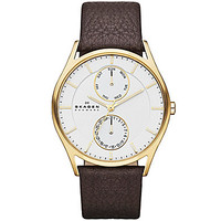 Skagen Men's Brown Leather Strap Watch with Multifunction Silver Dial