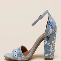 Slick Embroidered Denim Block Heel