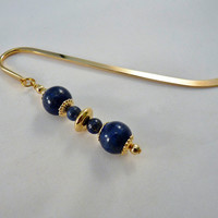 Lapis Lazuli Gold Plated Shepherd's Hook Bookmark