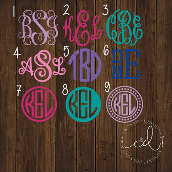 "99 CENT 2"" Monogram Car Decal - Monogram Decal - Sale Decals - Monogram Decals - Bow Decal - Flash Sale - 2"" Car Decals - 2"" Monograms"