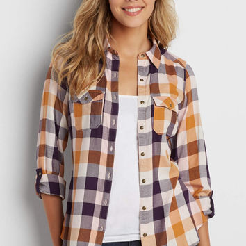 button down buffalo plaid shirt in purple and gold | maurices