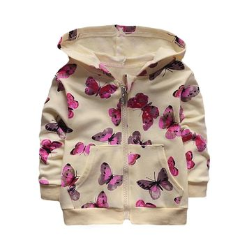 Kids Outerwear Zip-Up Butterfly Jacket