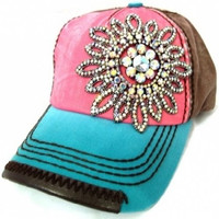 Womens Olive & Pique Large Rhinestone Flower Multi Colored Ball Cap (Pink/Teal/Brown)