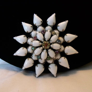 Vintage Milk Glass Sun Flower Brooch Pastel Glass Rhinestone Layered Silver Plate Pin