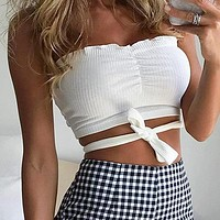 Sexy Crochet Strapless Top Women Crop Tops Fashion Elastic Lace up Tops Female Solid Color Tube Tops