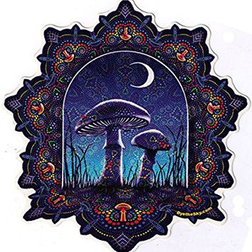 "Mushroom Mandala - Window Sticker / Decal (6"" Circular)"