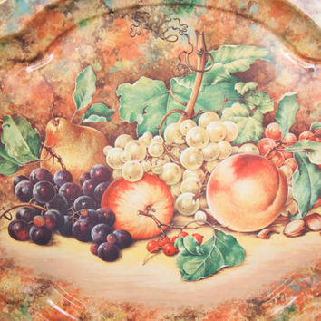 Vintage DAHER Decorated Ware Serving Tray Fruit Pattern Made in England 1971 Tin Platter Fall Wall Decor