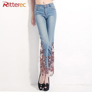 2017 spring Embroidered jeans woman Lace Spliced high waist denim jeans womens Beading Plus Size Patchwork flared jeans