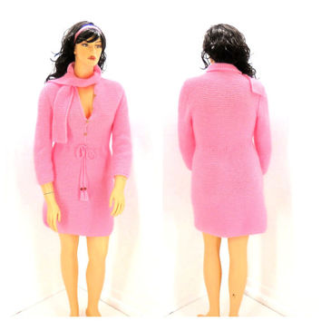 Vintage 60s hand knitted dress, L, 1960s mod pink hand knit sweater dress, retro knitted dress size 14 / 16,  SunnyBohoVintage