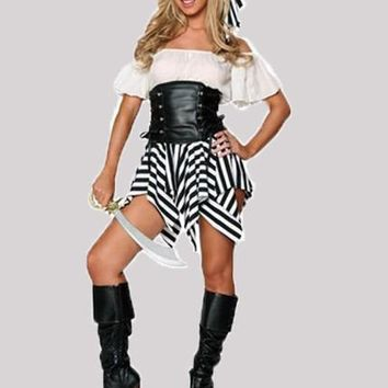 New Black Striped Irregular Drawstring Off Shoulder Pirates Of The Caribbean Hallowmas Mini Dress
