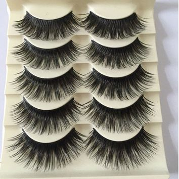 5 Pairs Fashion Natural Make up Long Cross Fake Eye Lashes Handmade Thick Black False Eyelashes Extension Beauty Makeup Tool