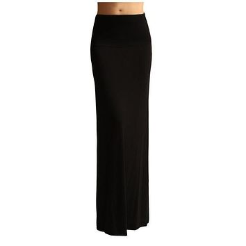 Solid Banded Waist Foldover Maxi Skirt