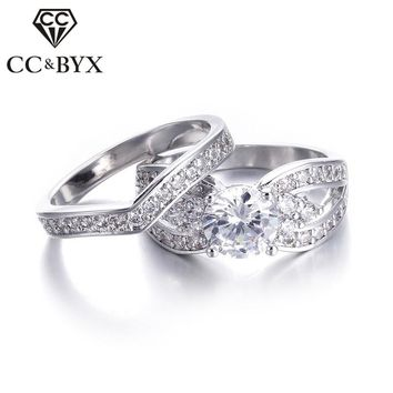 Wide Wedding Ring Set Cubic Zirconia Engagement Rings 2 Pcs CZ Dimond Vintage White Gold color  Engagement Woman Ring Set CC228