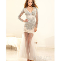Terani p3135 Silver Crystal Embellished Long Sleeve Prom Dress 2015 Prom Dresses