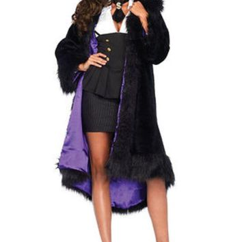 DCCKLP2 Satin lined faux fur coat with tail shawl collar SML/MED BLACK/PURPLE