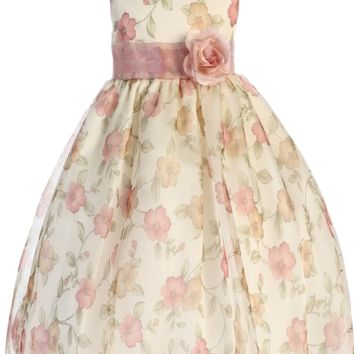 Vintage Rose Pink Floral Print Organza Overlay Girls Dress 2T-12