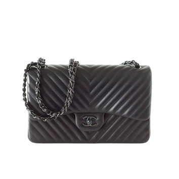 CHANEL bag Chevron So Black jumbo classic double flap quilted NeW