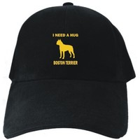 I NEED A HUG Boston Terrier Black Baseball Cap Unisex