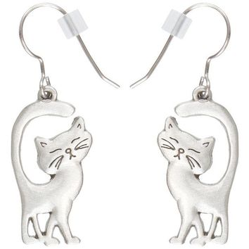 DCCKU3R Cat Walking With Tail Up Pewter Fishhook Earrings