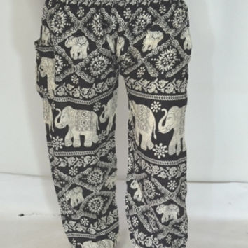Elephant Design Yoga Black grey stripes Pants/Harem pants/ Boho Pants/Elastic waist/Elastic Ankle/Thai Fisherman pants/Comfy Pants/ Thailand