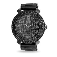 Black Silicone Men's Fashion Watch with Crystals