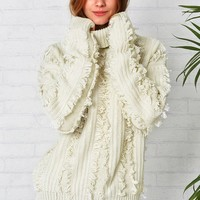Cupshe Chic Freely Ivory Tassel Sweater