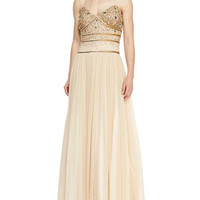 Spaghetti Strap Beaded Bodice Gown, Antique Gold