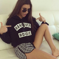 Hangover Cropped Hoodie Spring Unisex Cotton Sweater