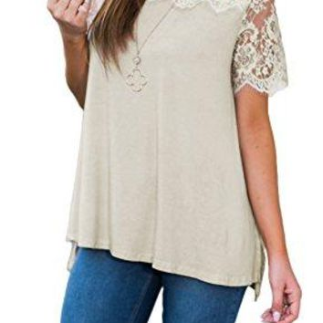 Newchoice Womens Summer Lace Blouse ONeck Slit Lace Patchwork Short Sleeve Tunic Tops