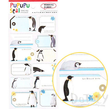 Emperor Penguin Glossy Photo Label Index Sticker Seals | Cute Animal Inspired Scrapbook Decorating Supplies