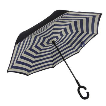 Ceiourich Stripe Long Umbrellas Double Layer Inverted Car Reverse Umbrellas Rainy with C-shaped Handle Reverse Umbrella-001