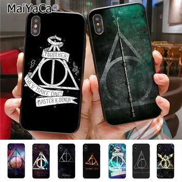 MaiYaCa Harry Potter Deathly Hallows logo Novelty Fundas Phone Case Cover for iPhone X 8plus 7 6splus 5s se 5c 7plus case Cover