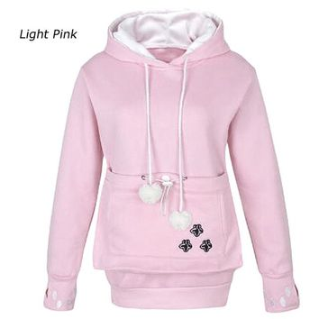 Long Sleeve Embroidery Women Big Pocket Sweatshirts With Cuddle Pouch Dog / Cat Pet Hoodies Casual Pullovers