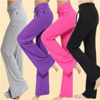 Womens Soft Comfort Cotton Spandex Yoga Sweat Lounge Gym Sports Athletic Pants