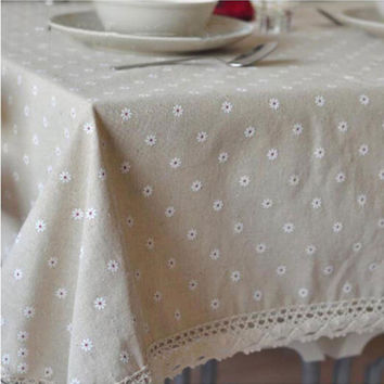 USPIRIT Floral Table Cloth Country Style Nappes De Table Flax Table Covers Europe Dining Table Corredor Da Tabela Mesa